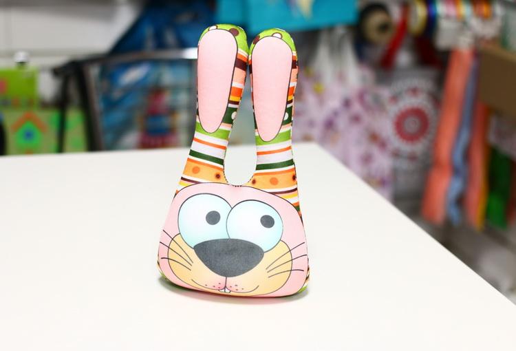 Игрушка заяц головастик зеленый в полоску