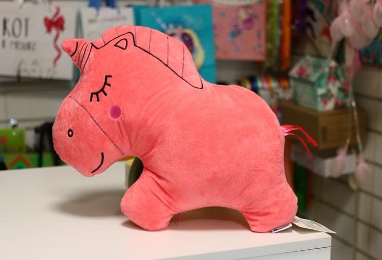Игрушка подушка единорог розовый