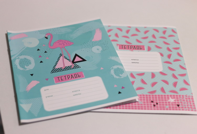 Тетрадь 12л # фламинго и арбузы