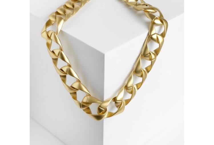 """Колье """"Цепь гранж"""" квадратное плетение, цвет матовое золото, 50см"""