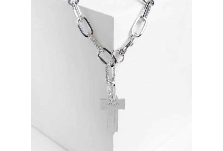 """Кулон """"Цепь"""" ключ, цвет белый в серебре, 45см"""