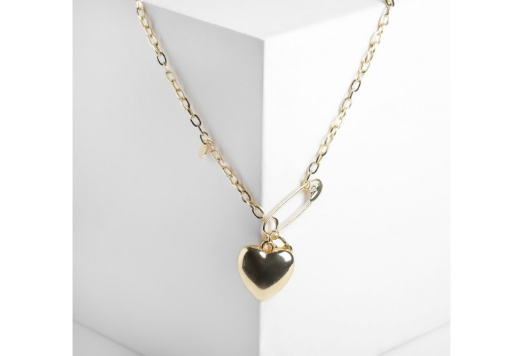 "Кулон ""Цепь"" сердечко на булавке, цвет золото, 50см"