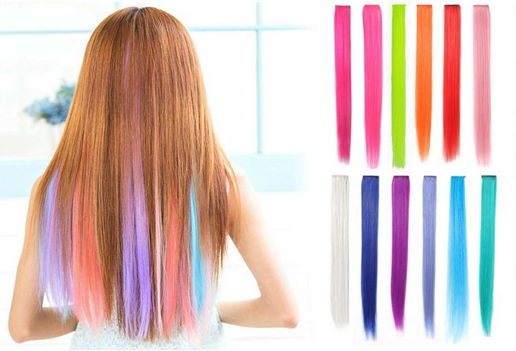 Цветные накладные пряди